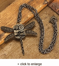 Dragonfly Gears Steampunk Necklace
