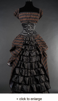 Steampunk Long Tiered Ruffle Dress
