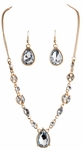 Gold Clear Drops Necklace Set