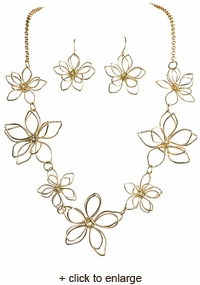 Gold Flowers Necklace and Earrings Set