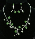 Green Crystal Flower Necklace & Earring Set