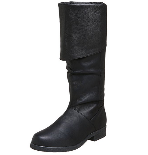 Medieval Leather Boots Black Reenactment Mens Shoe Pirate Role Play Boot