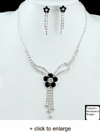 Onyx Flowers Necklace & Earrings Set