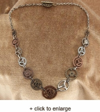 Single Chain Steampunk Gears Necklace