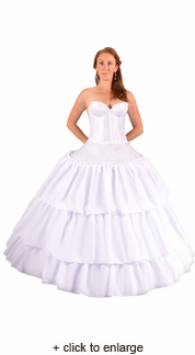 Six Ring Hoop Skirt with Ruffled Overlay
