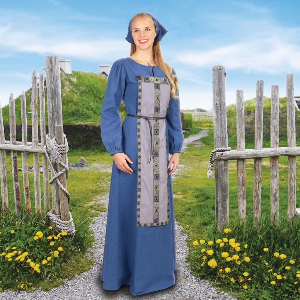 Traditional Blue Cotton Viking Gown