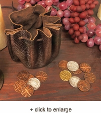 Viking Leather Pouch w/ Coins