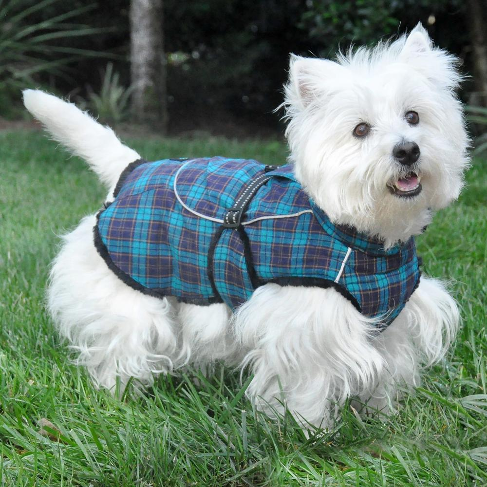 Dog Plaid Faux Fur Lined Winter Coat With Harness Opening