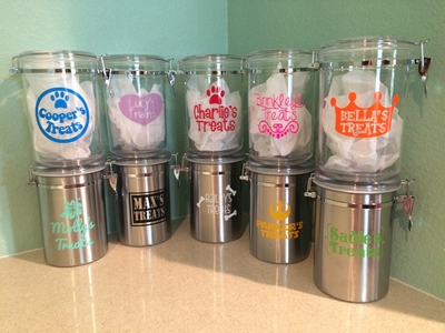 Personalized Dog Treat Jars Stainless Steel Acrylic Dog Cookie