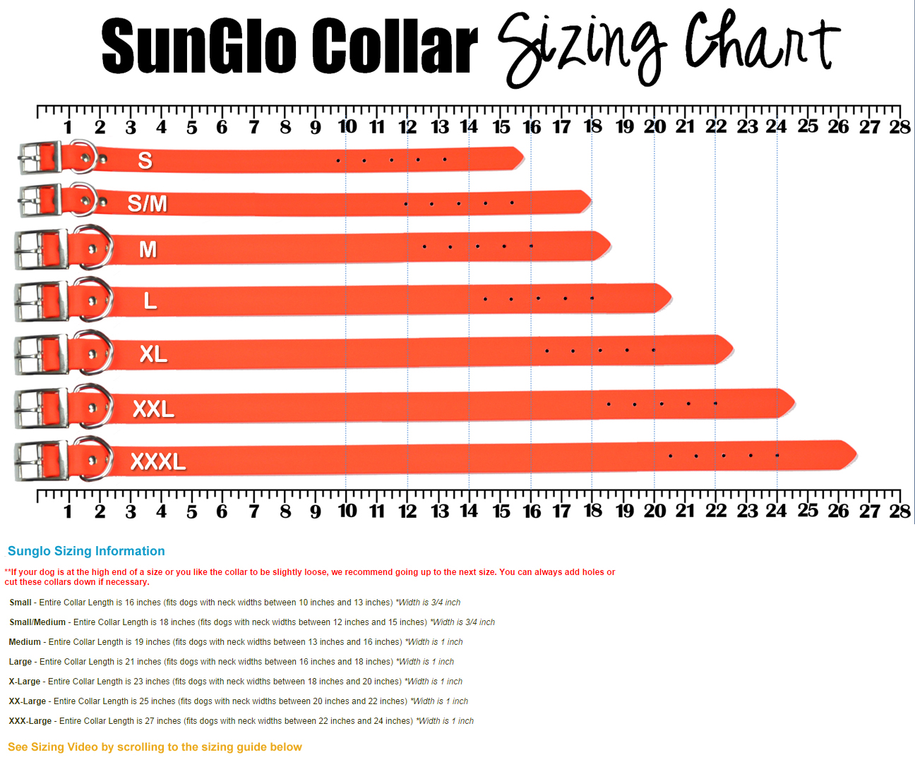 Sunglo waterproof dog collars no stink waterproof dog collars size chart nvjuhfo Images