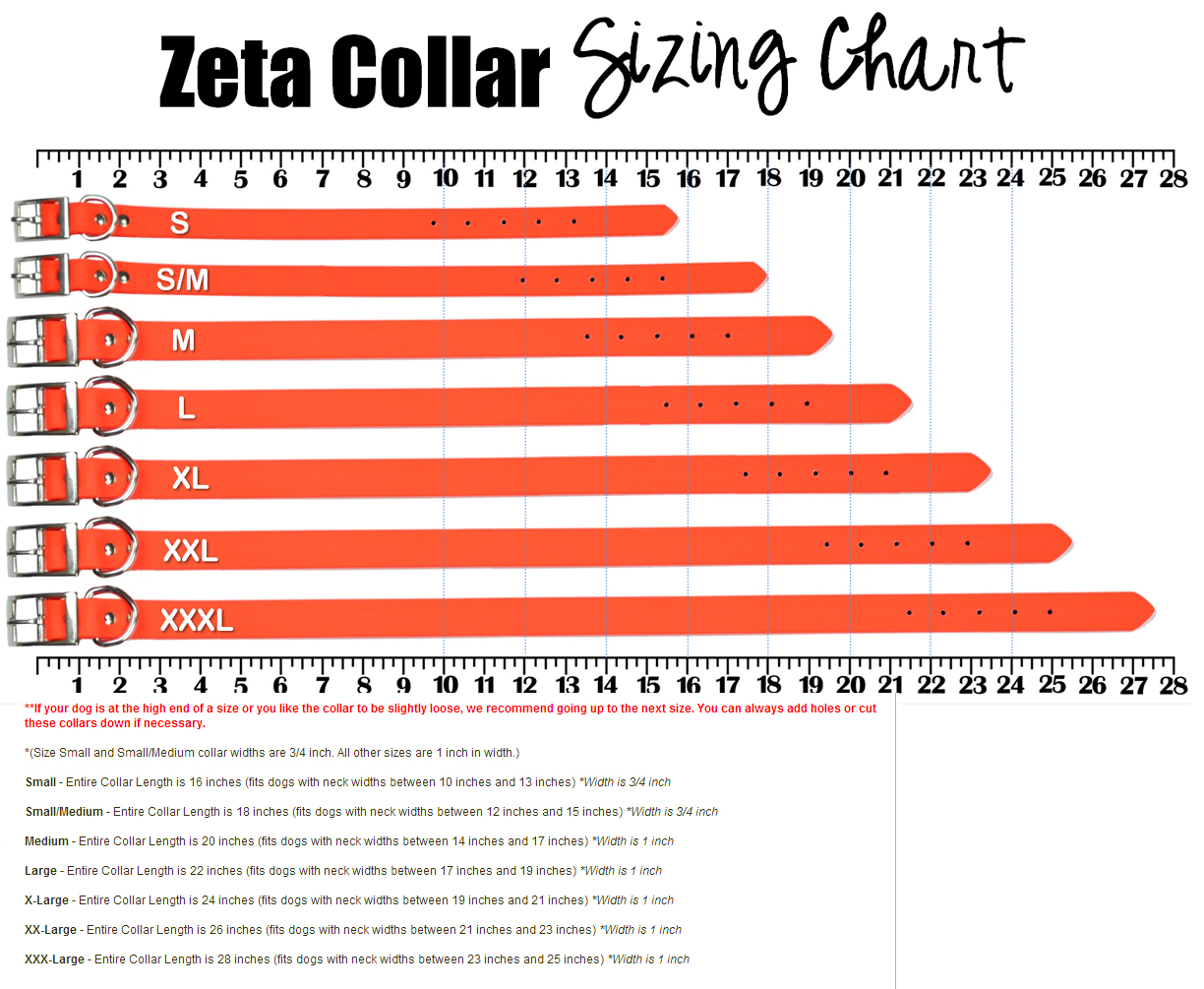 Zeta waterproof dog collars stink proof and 100 waterproof size chart nvjuhfo Image collections