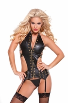 Allure 11-0255 Gold Trim Pleather Eyelet Corset