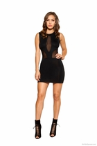 Clubwear Dress with Sheer Mesh Panels