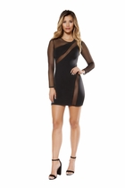 Clubwear Long Sleeved Dress with Sheer Mesh Detail