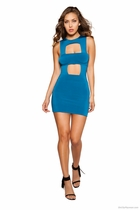 Clubwear Mini Dress with Square Cutout Pieces