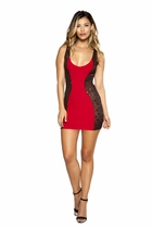 Clubwear Two-Tone Mini Dress with Swerved Glitter Sheer Mesh Sides