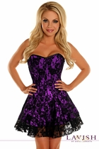 Daisy LV-336 Black/Purple Lace Corset Dress