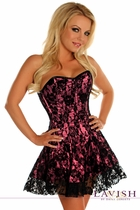 Daisy LV-338 Lavish Black/Pink Lace Corset Dress