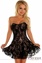 Daisy LV-342 Black/Tan Lace Corset Dress