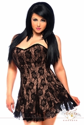 Daisy LV-342 Lavish Black/Tan Lace Corset Dress