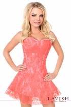 Daisy LV-625 Coral Lace Corset Dress