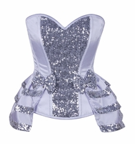 Daisy TD-074 White/Silver Satin & Sequin Steel Boned Corset
