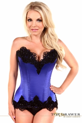 Daisy TD-451 Blue Satin Steel Boned Beaded Corset