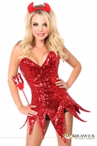 Daisy TD-912 Top Drawer Red Sequin Devil Corset Dress Costume