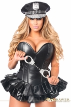 Daisy TD-923 Faux Leather Cop Corset Dress