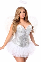 Daisy TD-956 4 PC Silver Sequin Angel Corset Costume