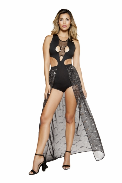 Multiple Cutout Romper W/Attached Skirt