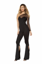 Dancewear Single Sleeved Jumpsuit with Slit Bottoms