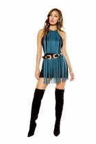 Dancewear Suede Dress with Fringe Detail