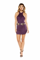 Dancewear Suede Halter Neck Dress with Hook Closure
