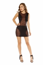 Dancewear Swerve Mini Dress with Star Shaped Glitter Sheer Mesh Panels
