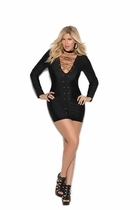 Plus Size Elegant Moments 8357X Long Sleeve Mini Dress