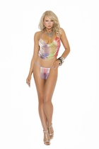 Elegant Moments 8031 Multi Color Fringe Cami Top With G-String