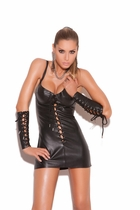 Elegant Moments L8103 Lace Up Leather Mini Dress