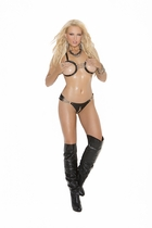 Elegant Moments L1146 Leather Bra with Open Bust