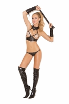 Elegant Moments L1158 Leather Cupless Top W/G-String