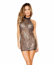 Mesh with silver design mini dress Small/Med