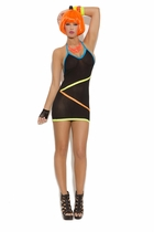 Elegant Moments 8838 Mini Dress with Neon Strap Detail