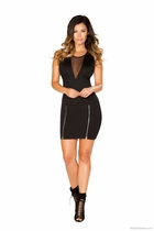 Mini Dress with Double Slit Zipper Detail and Sheer V Neck Detail