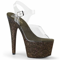 Pleaser Adore-708HMG Holographic Ankle Strap Sandal