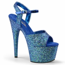 Pleaser Adore-710LG Holographic Glitter Ankle Strap Sandal