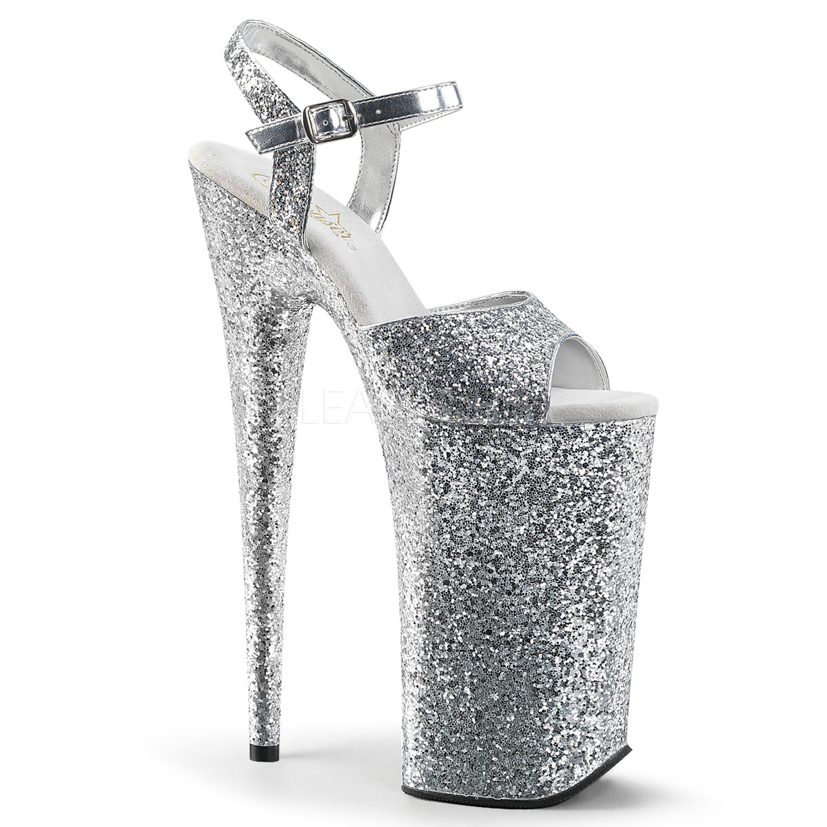 fb337e6b81 Pleaser Beyond-010LG Glitter Ankle Strap Stripper Heels