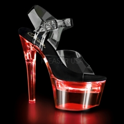 Pleaser Flashdance-708 Rechargeable Ankle Strap Sandal With 7 Flashing Colors