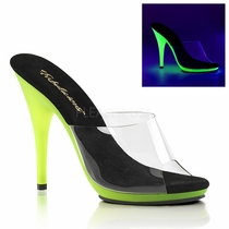 Pleaser Poise-501UV Slide W/Neon UV Reactive Bottom