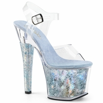 Pleaser Radiant-708THG  Textured Holographic Ankle Strap Sandal