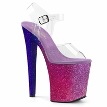 Pleaser Xtreme-808Ombre Glittery Ankle Strap Sandal